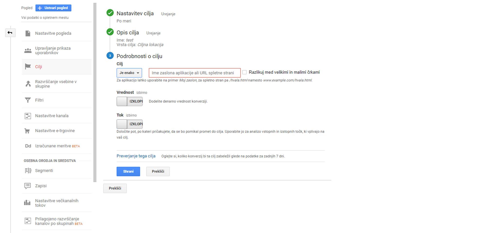Google Analytics nastavitev cilja 3